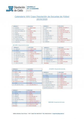 Calendario XXV Copa Diputación Escuela de Fútbol